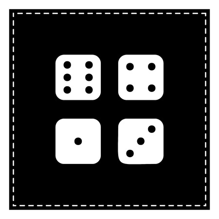 probability: Devils bones, Ivories sign. Black patch on white background. Isolated.