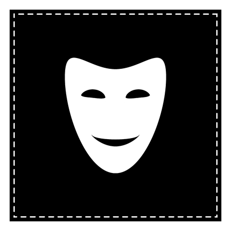 comedy background: Comedy theatrical masks. Black patch on white background. Isolated.