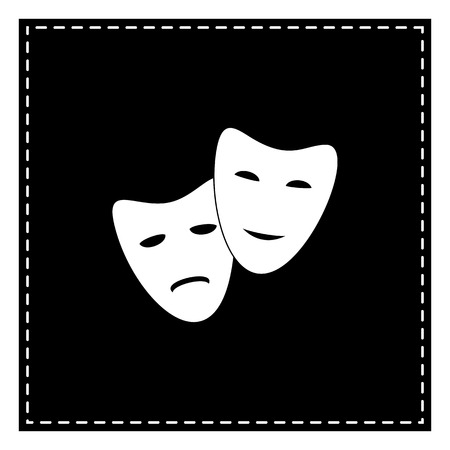 Theater icon with happy and sad masks. Black patch on white background. Isolated. Illustration
