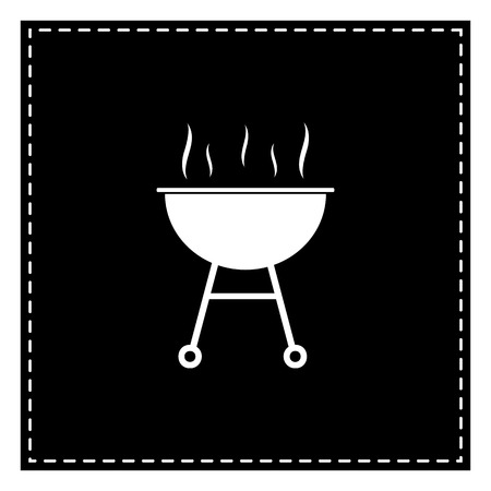 Barbecue simple sign. Black patch on white background. Isolated.