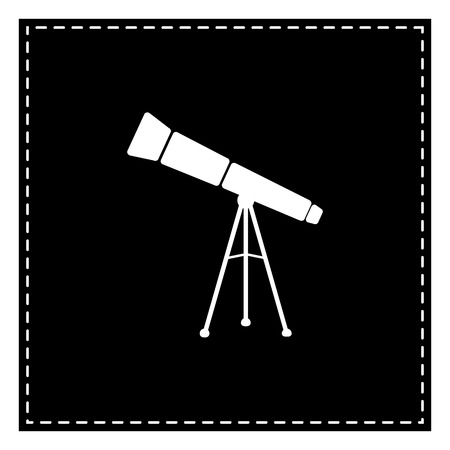 Telescope simple sign. Black patch on white background. Isolated.