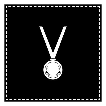 Medal simple sign. Black patch on white background. Isolated.