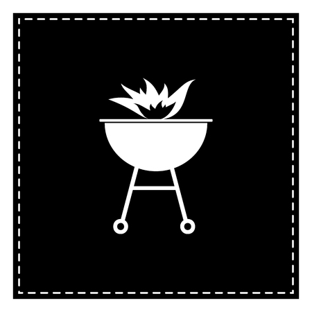 Barbecue with fire sign. Black patch on white background. Isolated. Illustration