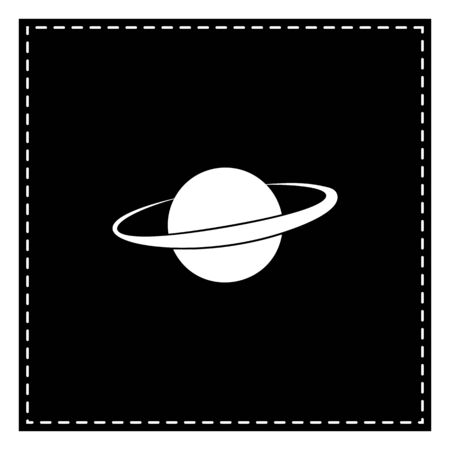 Planet in space sign. Black patch on white background. Isolated. Illustration