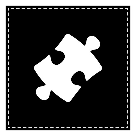 plugin: Puzzle piece sign. Black patch on white background. Isolated. Illustration