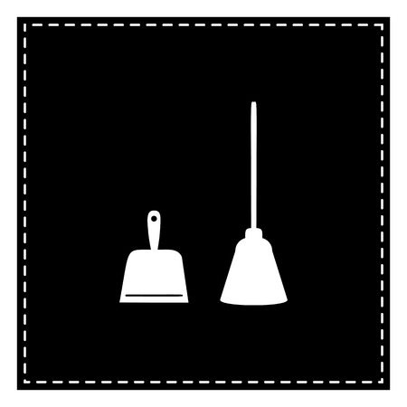 whisk broom: Dustpan vector sign. Scoop for cleaning garbage housework dustpan equipment. Black patch on white background. Isolated. Illustration