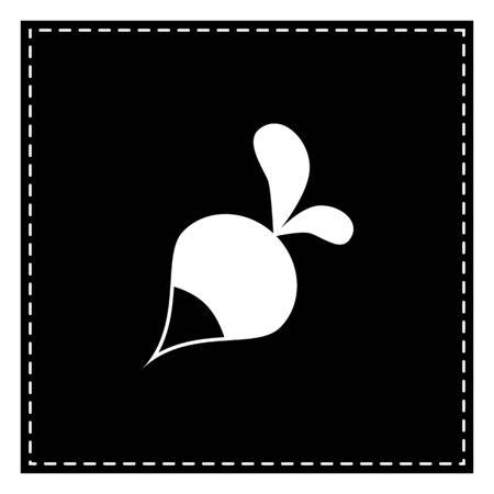 vegatables: Radish simple sign. Black patch on white background. Isolated.