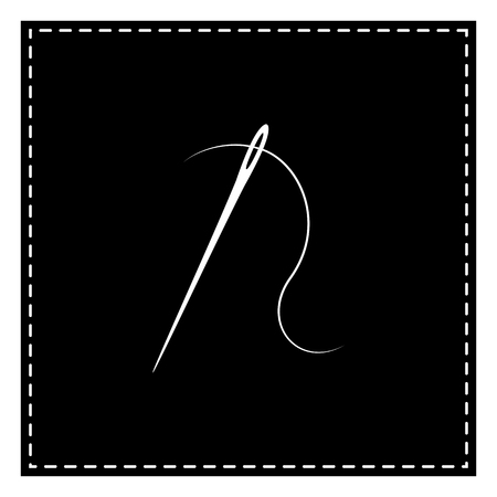 Needle with thread. Sewing needle, needle for sewing. Black patch on white background. Isolated.