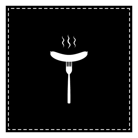 Sausage on fork sign. Black patch on white background. Isolated.