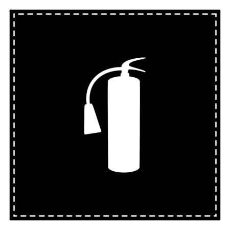 Fire extinguisher sign. Black patch on white background. Isolated.
