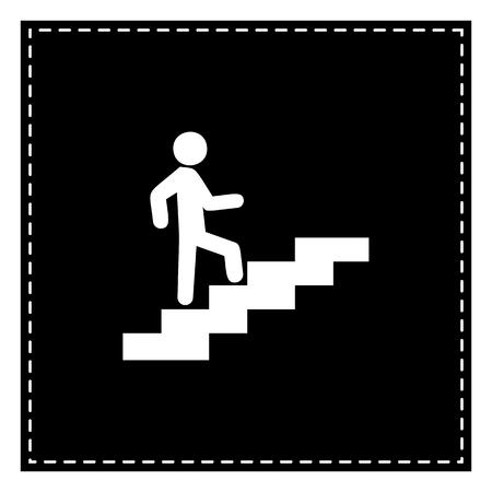 Homme dans les escaliers qui monte. Tache noire sur fond blanc. Isolé.