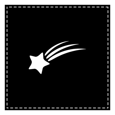 Shooting star sign. Black patch on white background. Isolated. Illustration