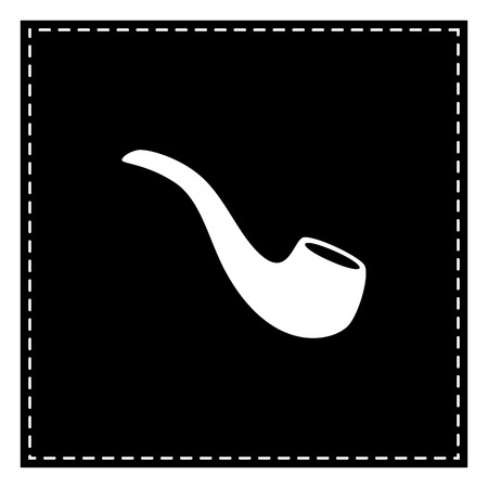 Smoke pipe sign. Black patch on white background. Isolated. Illustration
