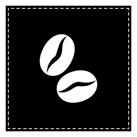 Coffee beans sign. Black patch on white background. Isolated.