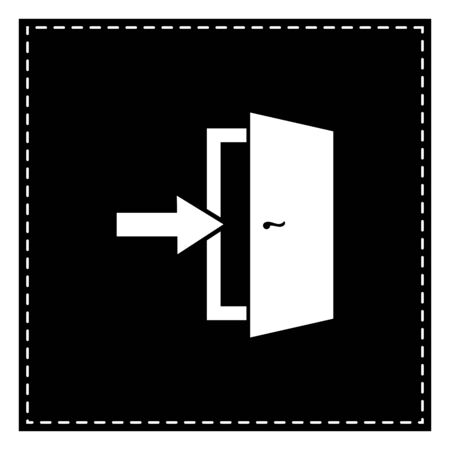 Door Exit sign. Black patch on white background. Isolated.