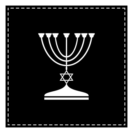Jewish Menorah candlestick in black silhouette. Black patch on white background. Isolated.
