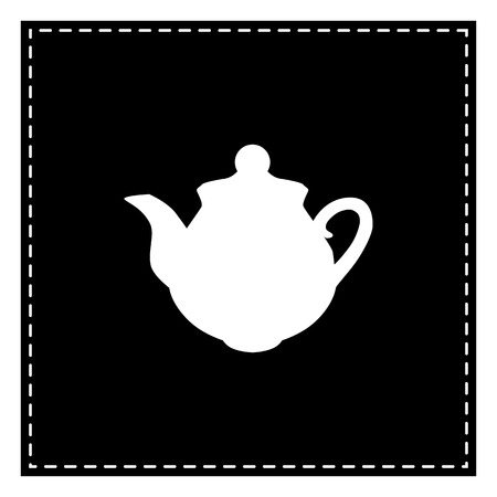 Tea maker sign. Black patch on white background. Isolated.