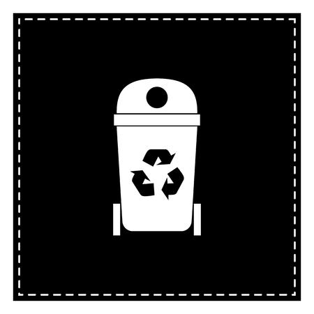 trashing: Trashcan sign illustration. Black patch on white background. Isolated.