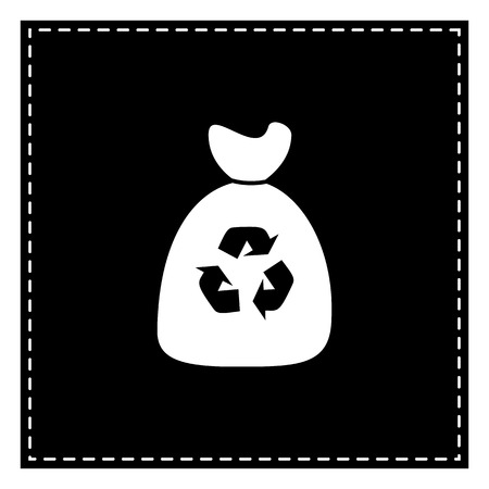 discard: Trash bag icon. Black patch on white background. Isolated.