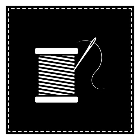 Thread with needle sign illustration. Black patch on white background. Isolated.