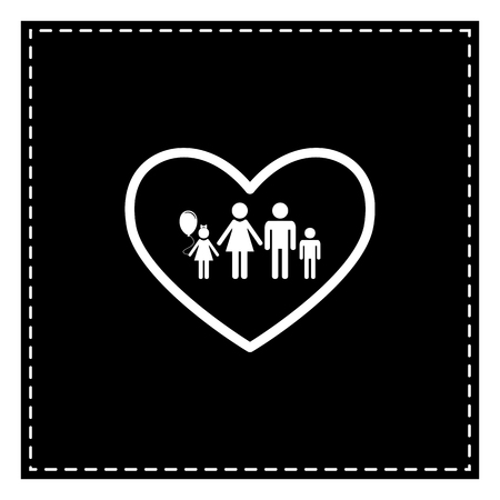 siloette: Family sign illustration in heart shape. Black patch on white background. Isolated.