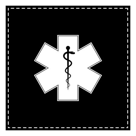 estrella de la vida: Medical symbol of the Emergency or Star of Life. Black patch on white background. Isolated. Vectores