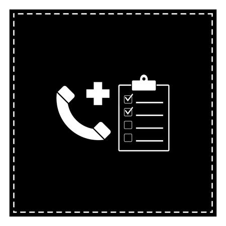 Medical consultration sign. Black patch on white background. Isolated.
