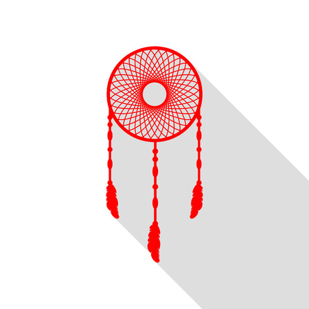 swelled: Dream catcher sign. Red icon with flat style shadow path. Illustration