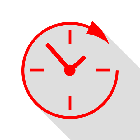 not open: Service and support for customers around the clock and 24 hours. Red icon with flat style shadow path. Illustration