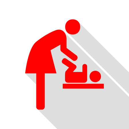 Symbol for women and baby, baby changing. Red icon with flat style shadow path. Illustration