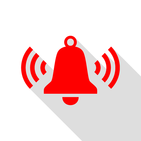 Ringing bell icon. Red icon with flat style shadow path. Illustration