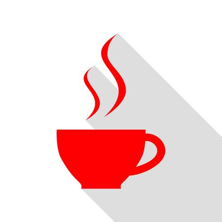Cup of coffee sign. Red icon with flat style shadow path.