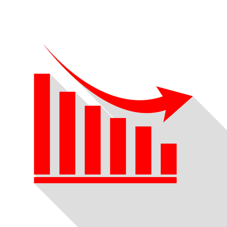 declining: Declining graph sign. Red icon with flat style shadow path. Illustration