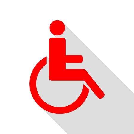 Disabled sign illustration. Red icon with flat style shadow path. Illustration