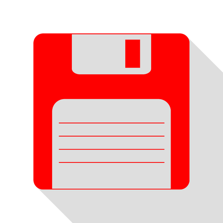 old pc: Floppy disk sign. Red icon with flat style shadow path.