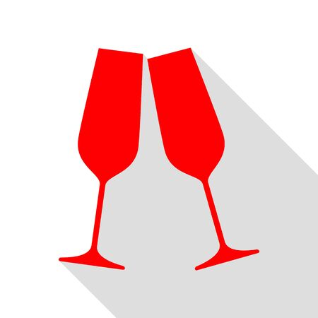 Sparkling champagne glasses. Red icon with flat style shadow path.