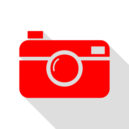 Digital photo camera sign. Red icon with flat style shadow path.
