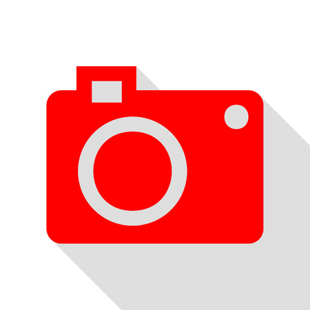 Digital camera sign. Red icon with flat style shadow path. Illustration