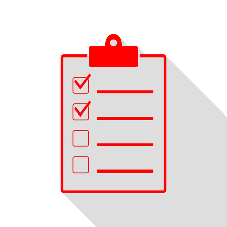 conformity: Checklist sign illustration. Red icon with flat style shadow path.