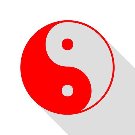 yin y yan: símbolo ying yang de la armonía y el equilibrio. icono rojo con el camino de sombra estilo plano. Vectores