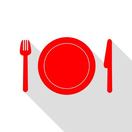 fork in path: Fork, plate and knife. Red icon with flat style shadow path.
