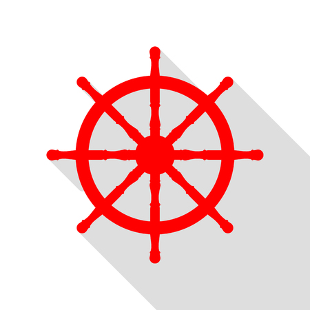 Ship wheel sign. Red icon with flat style shadow path. Illustration