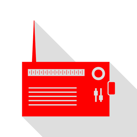 Radio sign illustration. Red icon with flat style shadow path. Illustration