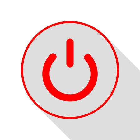 On Off switch sign. Red icon with flat style shadow path. Illustration