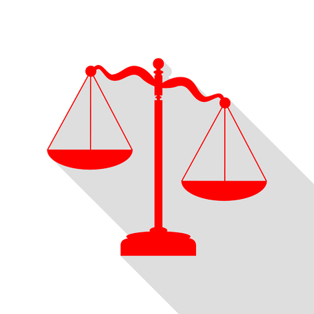 Scales of Justice sign. Red icon with flat style shadow path.