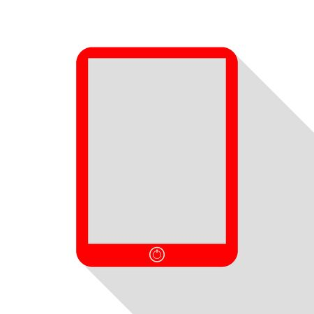 touch sensitive: Computer tablet sign. Red icon with flat style shadow path.