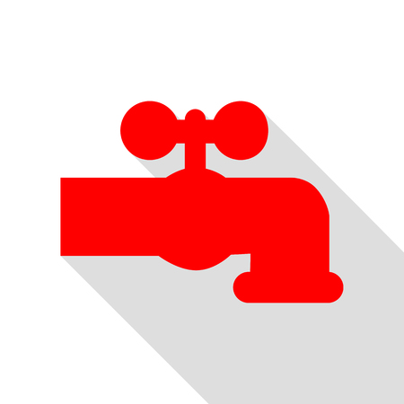 spew: Water faucet sign illustration. Red icon with flat style shadow path. Illustration