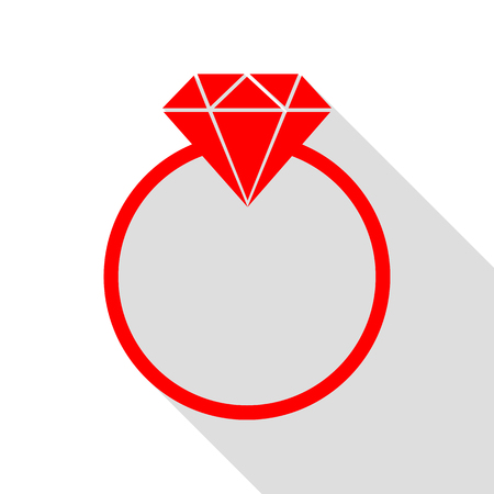 Diamond sign illustration. Red icon with flat style shadow path. Illustration