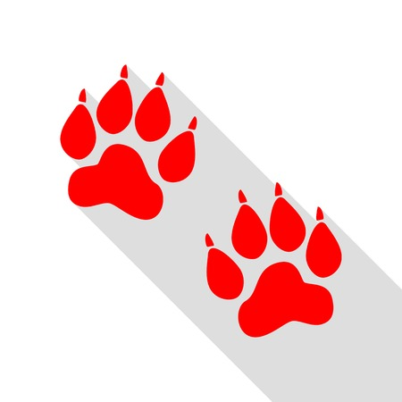 Animal Tracks sign. Red icon with flat style shadow path.