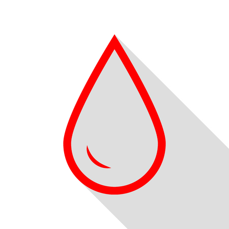 Drop of water sign. Red icon with flat style shadow path.